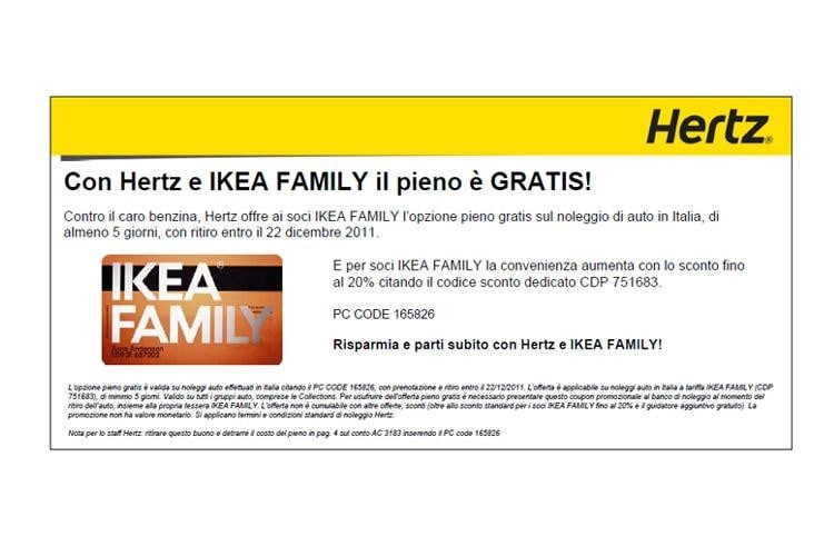 Hertz Offerte Per I Soci Ikea Quattroruoteit