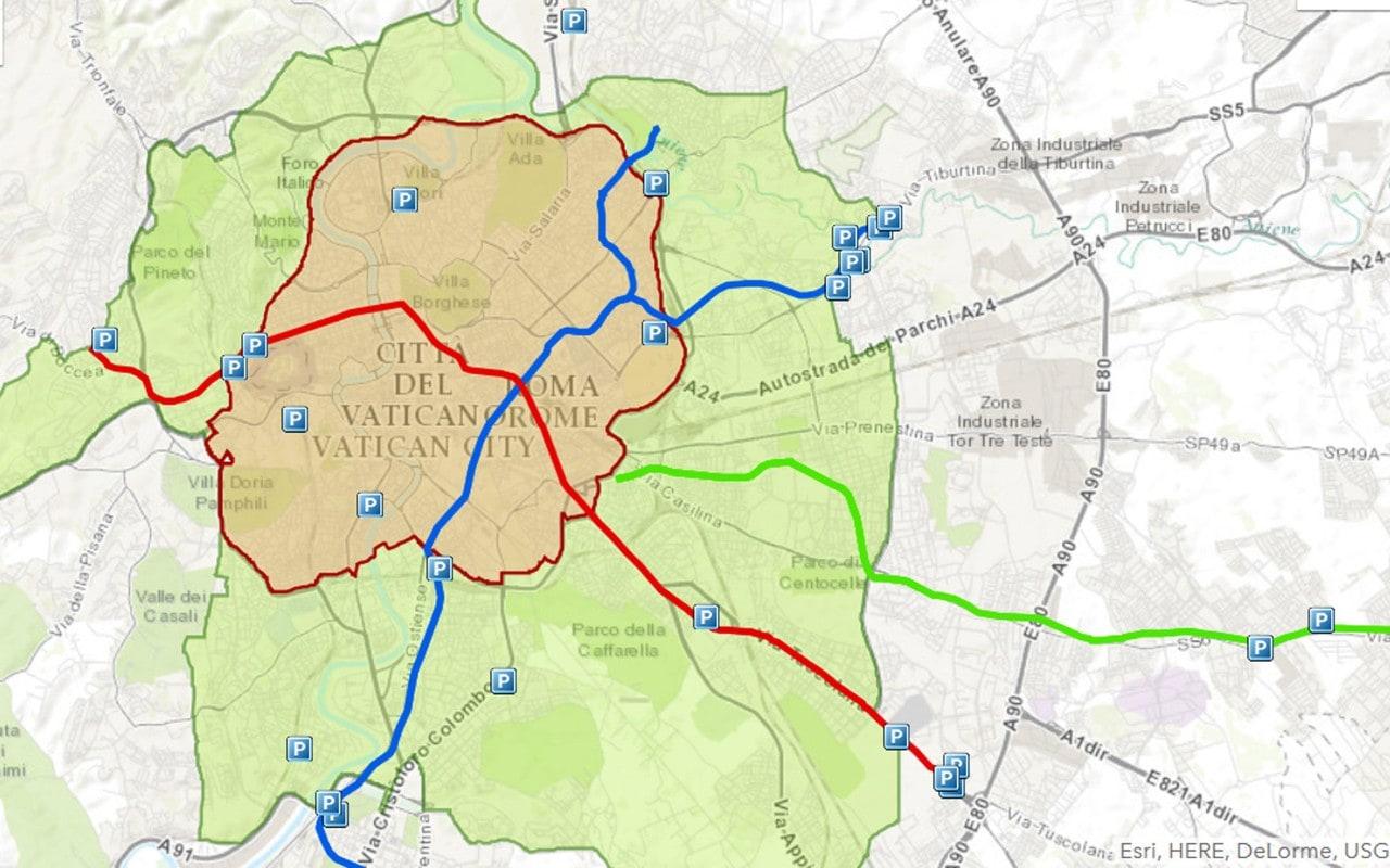 Roma Cartina Fascia Verde