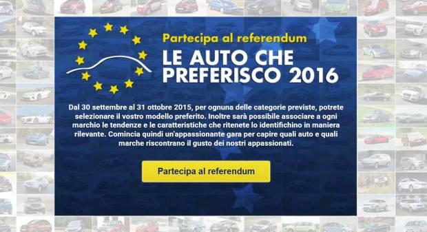Le auto che preferisco 2016 Vota online dal 30 settembre al 31 ottobre