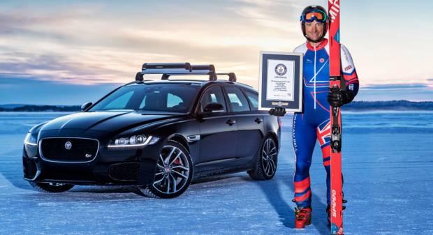 La Sportbrake traina uno sciatore per un nuovo record