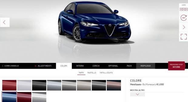Alfa Romeo Giulia Online il configuratore