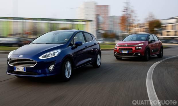 Su Quattroruote di gennaio Citroën C3 vs Ford Fiesta: duello automatico