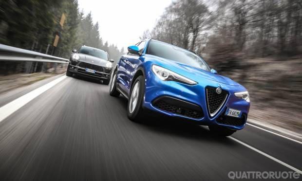 Sfida tra Alfa Romeo Stelvio e Porsche Macan