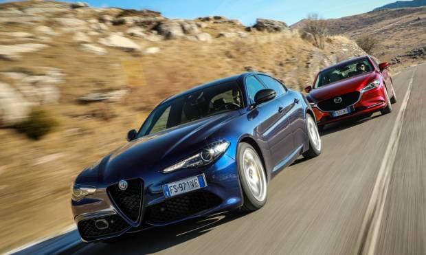 Alfa Romeo Giulia vs Mazda6 La 2.2 TD vs la 2.2 Skyactiv-D - VIDEO